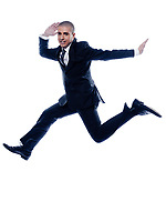 caucasian man businessman jump running pose isolated studio on white background