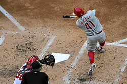 May 6, 2018 - Washington, DC, U.S. - WASHINGTON, DC - MAY 06:  Philadelphia Phillies first baseman Carlos Santana (41) hits a double during the game between the Philadelphia Phillies  and the Washington Nationals on May 6, 2018, at Nationals Park, in Washington D.C.  The Washington Nationals defeated the Philadelphia Phillies, 5-4.  (Photo by Mark Goldman/Icon Sportswire) (Credit Image: © Mark Goldman/Icon SMI via ZUMA Press)