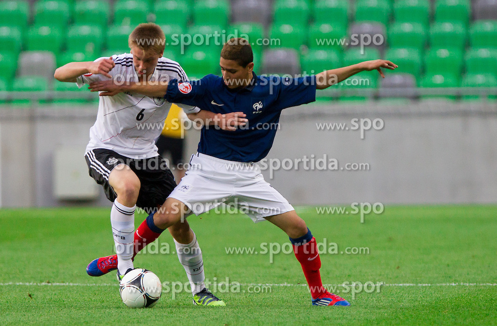 Nico Brandenburger of Germany vs Mohamed Chemlal of France during the UEFA European Under-17 Championship Group A match between Germany and France on May 10, 2012 in SRC Stozice, Ljubljana, Slovenia. (Photo by Vid Ponikvar / Sportida.com)