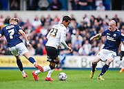 Thomas Ince on the ball in midfield during the Sky Bet Championship match between Millwall and Derby County at The Den, London, England on 25 April 2015. Photo by David Charbit.