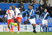 Charlton Athletic midfielder Alou Diarra plays the ball away from Birmingham City midfielder Demarai Gray during the Sky Bet Championship match between Birmingham City and Charlton Athletic at St Andrews, Birmingham, England on 21 November 2015. Photo by Alan Franklin.