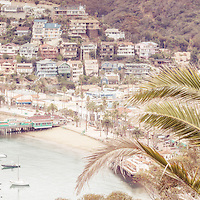 Catalina Island Avalon Bay retro panoramic photo. Catalina Island is a popular travel destination off the coast of Southern California in the United States. Panoramic photo ratio is 1:3.
