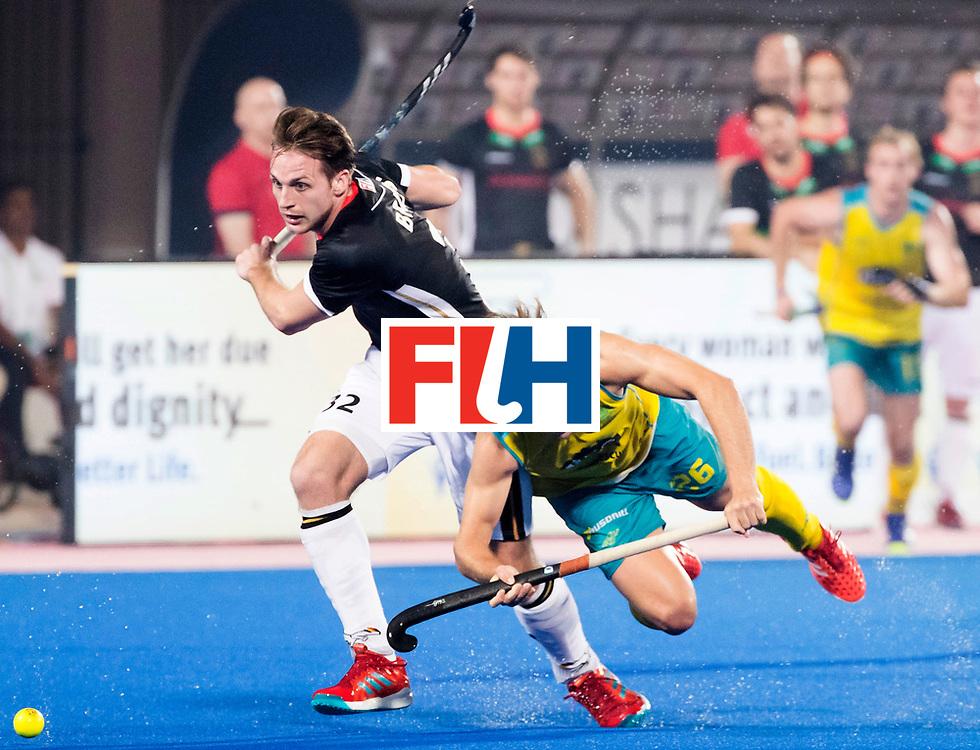 BHUBANESWAR - The Odisha Men's Hockey World League Final . Match ID 05 . Germany  v Australia . Dylan Wotherspoon (Aus) with Niklas Bruns (Ger)   .WORLDSPORTPICS COPYRIGHT  KOEN SUYK