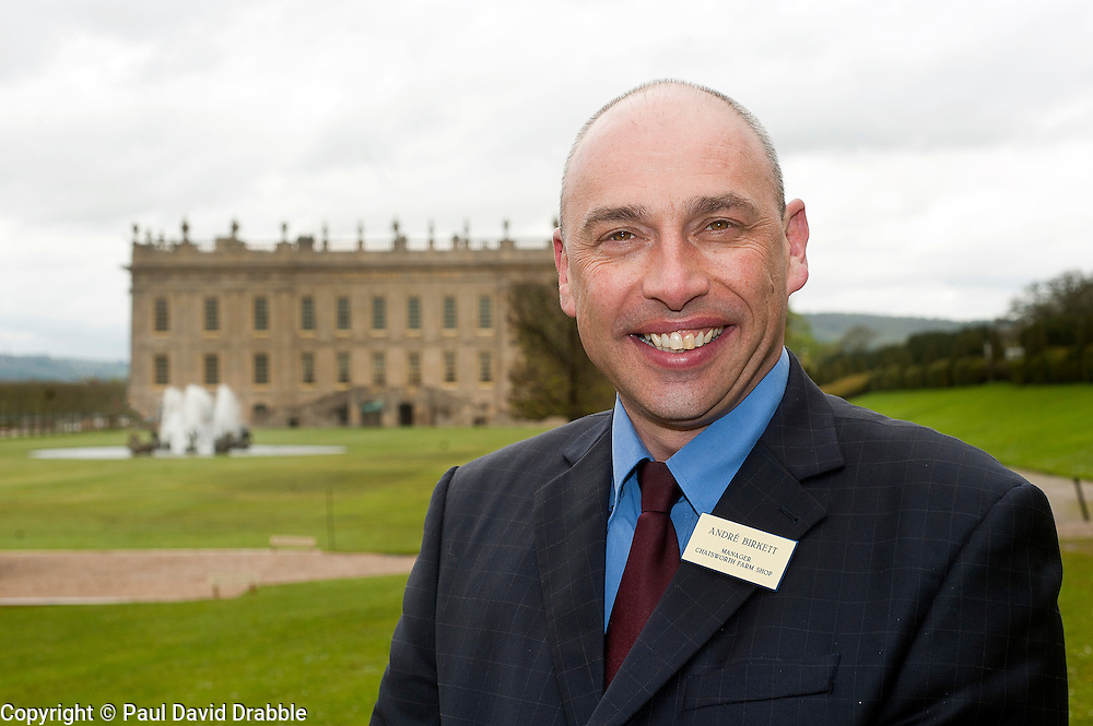 Andre Birckett Manager of Chatsworth Farm Shop stands infront of Chatsworth House..10  May 2012.Image © Paul David Drabble