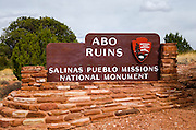 Park entrance sign at Abo Ruins, Salinas Pueblo Missions National Monument., New Mexico, USA