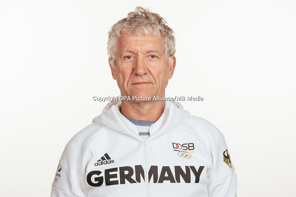 Dr. Helmut Schreiber poses at a photocall during the preparations for the Olympic Games in Rio at the Emmich Cambrai Barracks in Hanover, Germany, taken on 19/07/16 | usage worldwide