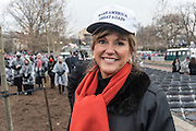 Susan Hutchison, 60, Seattle.<br /> <br /> President Trump Inauguration in Washington_DC_01_2017 with reporter Peter Hossli.<br /> <br /> Photo &copy; Stefan Falke / www.stefanfalke.com stefanfalke@mac.com <br /> 917-2149029