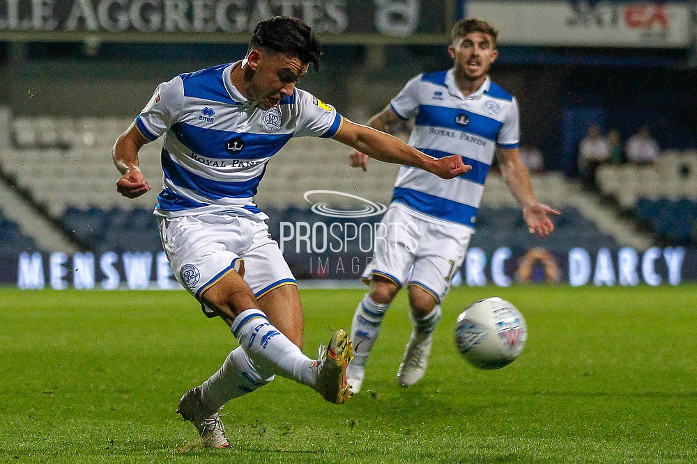 Queens Park Rangers midfielder Ilias Chair (19) crosses the ball during the EFL Sky Bet Championship match between Queens Park Rangers and Swansea City at the Kiyan Prince Foundation Stadium, London, England on 21 August 2019.
