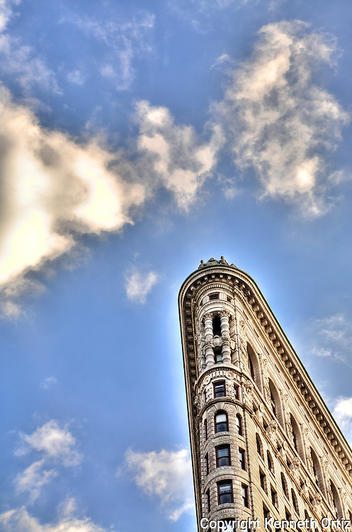 The Flat Iron building and clouds.