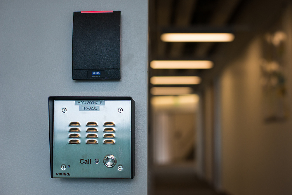 03/12/2018 - Medford/Somerville, MA - The intercom through which people can request access to the accessible route from the Science and Engineering Center to Anderson and Robinson is pictured on Mar 12, 2018. (Ray Bernoff / The Tufts Daily)