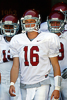 21 August 2008: QB #16 Mitch Mustain of the  USC Trojans Pac-10 NCAA College football team final intrasquad scrimmage of fall camp in front of 8,000 fans in the Los Angeles Memorial Coliseum near school campus.  White team (1st and 2nd teamers) defeated the Cardinal (reserves) team 28-7 on Thursday.