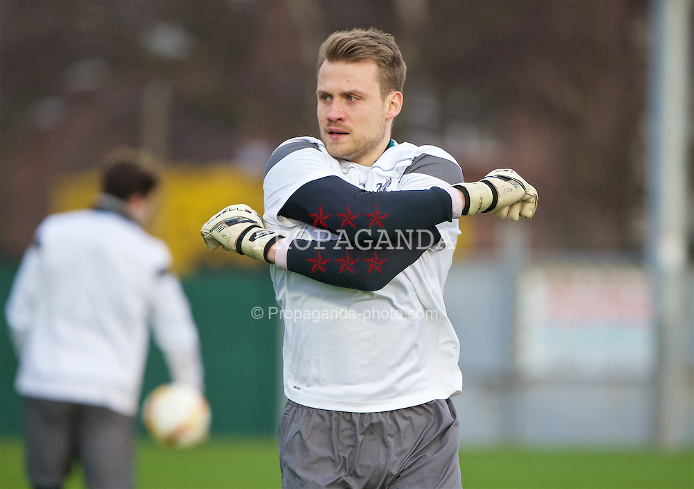 LIVERPOOL, ENGLAND - Wednesday, March 9, 2016: Liverpool's goalkeeper Simon Mignolet during a training session at Melwood Training Ground ahead of the UEFA Europa League Round of 16 1st Leg match against Manchester United FC. (Pic by David Rawcliffe/Propaganda)