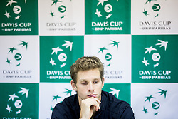Blaz Rola of Slovenia at press conference during the Day 1 of Davis Cup 2018 Europe/Africa zone Group II between Slovenia and Poland, on February 3, 2018 in Arena Lukna, Maribor, Slovenia. Photo by Vid Ponikvar / Sportida