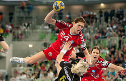Kristina Franic of Krim vs Tine Kristiansen of Larvik during handball match between RK Krim Mercator and Larvik HK (NOR) of Women's EHF Champions League 2011/2012, on November 13, 2011 in Arena Stozice, Ljubljana, Slovenia. Larvik defeated Krim 22-19. (Photo By Vid Ponikvar / Sportida.com)