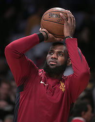 March 11, 2018 - Los Angeles, California, U.S - LeBron James #23 of the Cleveland Cavaliers during warm ups prior to their NBA game with the Los Angeles Lakers on Sunday March 11, 2018 at the Staples Center in Los Angeles, California. Lakers defeat Cavaliers, 127-113. (Credit Image: © Prensa Internacional via ZUMA Wire)