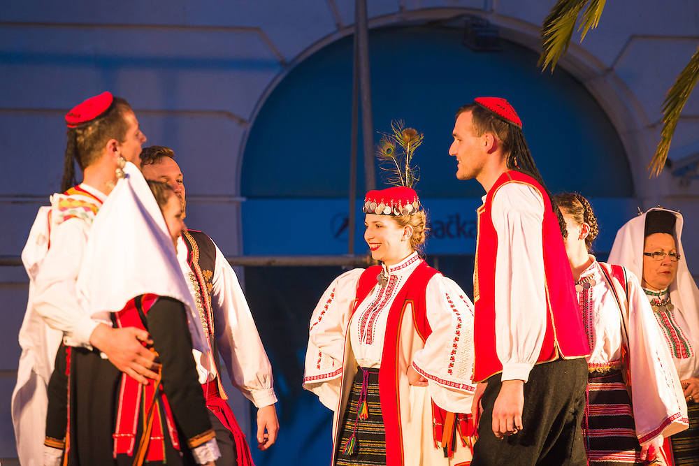 Traditional dance and story telling during a performance in Split Croatia
