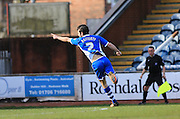 Joe Rafferty celebrations 2-1 during the Sky Bet League 1 match between Rochdale and Southend United at Spotland, Rochdale, England on 25 March 2016. Photo by Daniel Youngs.