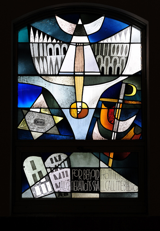 "Stained glass image from Shrine of Our Lady of Good Help in Champion, Wis. ""For Behold, From Hence All Generations Shall Call Me Blessed."" (Sam Lucero photo)"