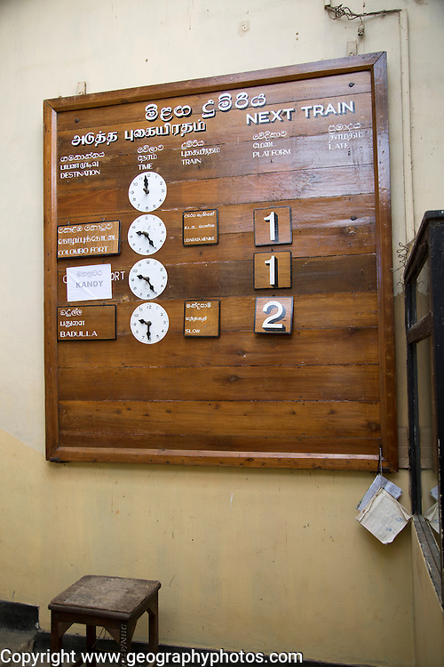 Train timetable at the railway station, Nanuoya, Sri Lanka, Asia