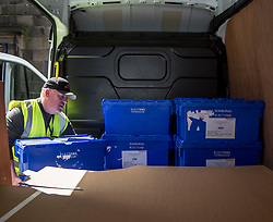 Staff from Edinburgh Council load up the ballot boxes and polling station equipment in preparation for the General Election.<br /> <br /> © Dave Johnston/ EEm