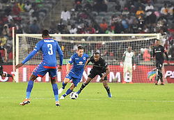 South Africa: Johannesburg: Orlando Pirates Linda Mntambo and  SuperSport United TDean Furman during the Absa Premiership at the Orlando stadium, Gauteng. <br /> Picture: Itumeleng English/African News Agency (ANA)