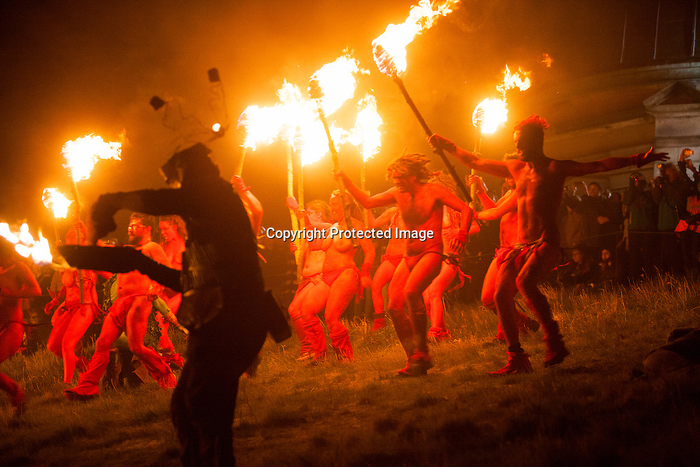 Edinburgh, Scotland UK. 20th. Performers at the Edinburgh's Beltane Fire Festival, the biggest annual fire festival in the world, which marks the death of winter and celebrates the birth of summer.  Hundreds of volunteers take part each year in this modern re-imagingining of the ancient Celtic celebration, with drumming and dancing with fire. Pako Mera