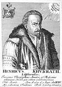 Heinrich Khunrath (c1560-1605) German chemist and alchemist born in Leipzig. [1725].  From 'Icones Virorum ? ', Friedrich Roth-Scholtz, (Nuremberg, 1725).