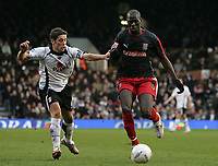 Photo: Lee Earle.<br /> Fulham v Stoke City. The FA Cup. 27/01/2007.Fulham's Michael Brown (L) battles with Mamady Sidibe.