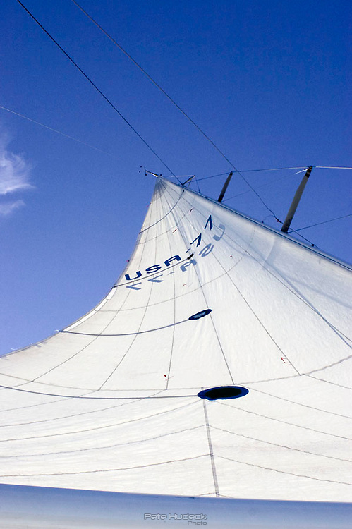 Looking up the sail of the Dolphin