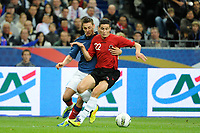 FOOTBALL - UEFA EURO 2012 - QUALIFYING - GROUP STAGE - GROUP D - FRANCE v ALBANIA - 07/10/2011 - PHOTO JEAN MARIE HERVIO / DPPI - ODISE ROSHI (ALB) / MATHIEU DEBUCHY (FRA)