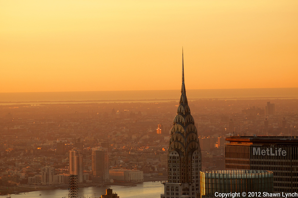 The Chrystler Building in Manhattan during sunrise.