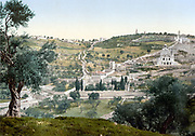 General view of the Mount of Olives and Gethsemane, Jerusalem, Palestine, c1890-c1900.  At this date Jerusalem was still part of the Ottoman empire.  Photochrome.