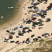 Aerial images of the North end of Carolina Beach, North Carolina. The area allows trucks and other motorized vehicles to drive on the sand.