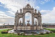 The Immacolatella Fountain or Fontana del Gigante in Castel dell' Ovo Naples, southern Italy.