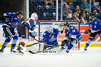 KELOWNA, CANADA - AUGUST 31: Mark Liwiski #9 of the Kelowna Rockets takes a shot on Dean McNabb #35 of the Victoria Royals during first period on August 31, 2018 at Prospera Place in Kelowna, British Columbia, Canada.  (Photo by Marissa Baecker/Shoot the Breeze)  *** Local Caption ***