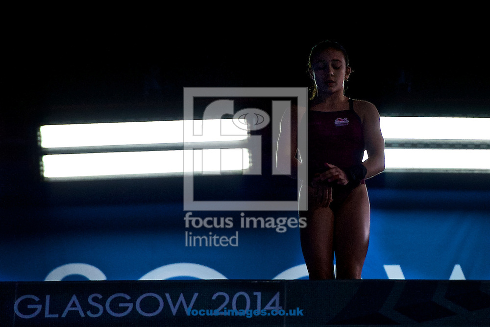 Victoria Vincent about to take a dive pictured during the Women's 10 Metre Platform Final on Diving Day Two at Royal Commonwealth Pool during Glasgow 2014 Commonwealth Games <br /> Picture by Ian Wadkins/Focus Images Ltd +44 7877 568959<br /> 31/07/2014