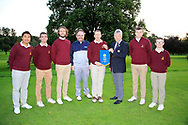 Dermot Rollins of Rollins Insurance Brokers (AIG) and John White Ulster Golf present the pennant to Malone Team Captain  after the AIG Junipr Cup Ulster Fianl in Lisburn Golf Club, Lisburn, Down, Northern Ireland. 31/08/2019.<br /> Picture Fran Caffrey / Golffile.ie<br /> <br /> All photo usage must carry mandatory copyright credit (© Golffile | Fran Caffrey)<br /> <br /> Team: Marco Deane, Ben Connolly, Jamie Thompson, Luke O'Sullivan, Fionn Dobbin