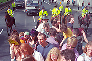 Ravers protesting in London for the first Criminal Justice March, Park Lane, London, UK, 1st of May 1994.