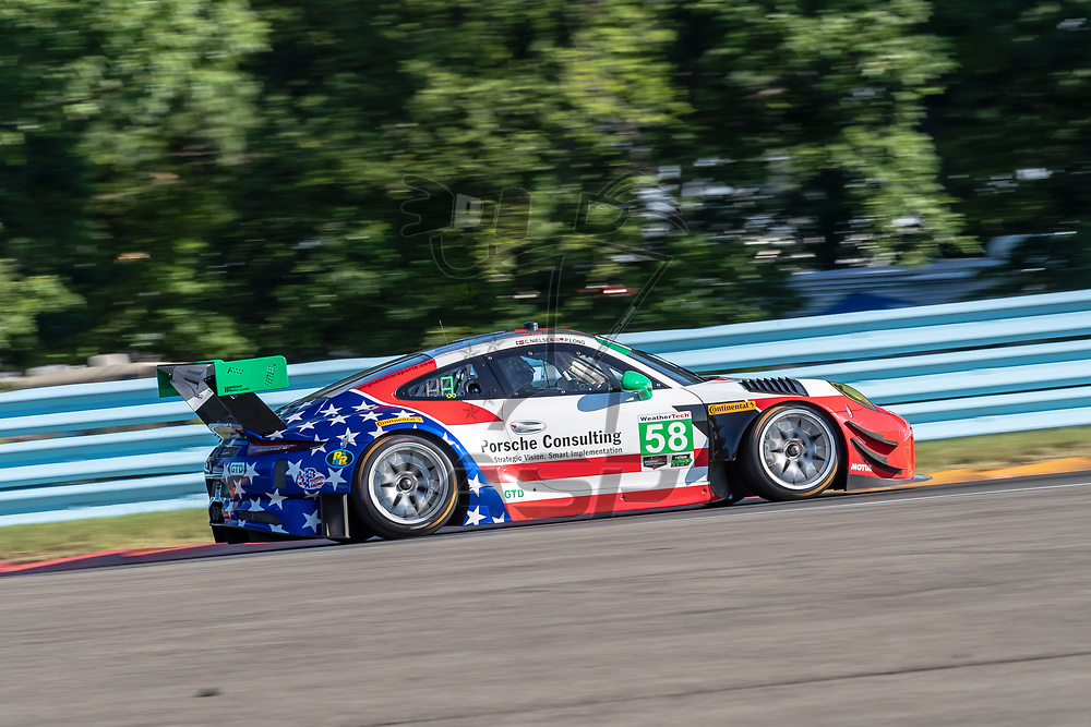 The Wright Motorsports Porsche 911 GT America car practice for the Sahlen's Six Hours At The Glen at Watkins Glen International Raceway in Watkins Glen, New York.