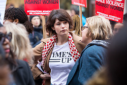 © Licensed to London News Pictures. 10/03/2018. London, UK. GEMMA ARTERTON takes part in the 'Million Women Rise' march through central London, campaigning against domestic violence against women. Organisers have asked participants to wear red for the demonstration. On Thursday (8 March) this week, International Women's Day was celebrated. Photo credit : Tom Nicholson/LNP
