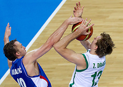 Dusko Savanovic of Serbia vs Zoran Dragic of Slovenia during basketball game between National basketball teams of Slovenia and Serbia in 7th place game of FIBA Europe Eurobasket Lithuania 2011, on September 17, 2011, in Arena Zalgirio, Kaunas, Lithuania. (Photo by Vid Ponikvar / Sportida)