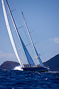 Rebecca sailing in The Superyacht Cup regatta, Antigua 2010, race one.