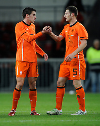 09-02-2011 VOETBAL: NEDERLAND - OOSTENRIJK: EINDHOVEN<br /> Netherlands in a friendly match with Austria won 3-1 / Kevin Strootman NED and Erik Pieters NED<br /> ©2011-WWW.FOTOHOOGENDOORN.NL