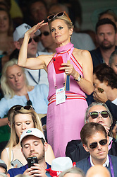 © Licensed to London News Pictures. 09/07/2018. London, UK. Laura Bailey on the centre court during the Wimbledon Tennis Championships 2018, at the All England Lawn Tennis and Croquet Club. Photo credit: Ray Tang/LNP