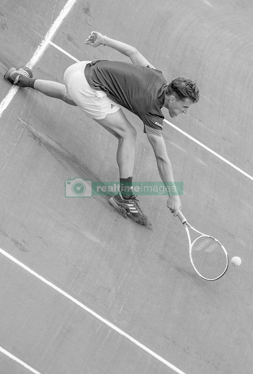 June 1, 2018 - Paris, Ile-de-France, France - Dominic Thiem of Austria returns the ball to Matteo Berrettini of Italy during the third round at Roland Garros Grand Slam Tournament - Day 6 on June 01, 2018 in Paris, France. (Credit Image: © Robert Szaniszlo/NurPhoto via ZUMA Press)