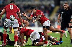 Sonatane Takulua of Tonga passes the ball - Mandatory byline: Patrick Khachfe/JMP - 07966 386802 - 09/10/2015 - RUGBY UNION - St James' Park - Newcastle, England - New Zealand v Tonga - Rugby World Cup 2015 Pool C.