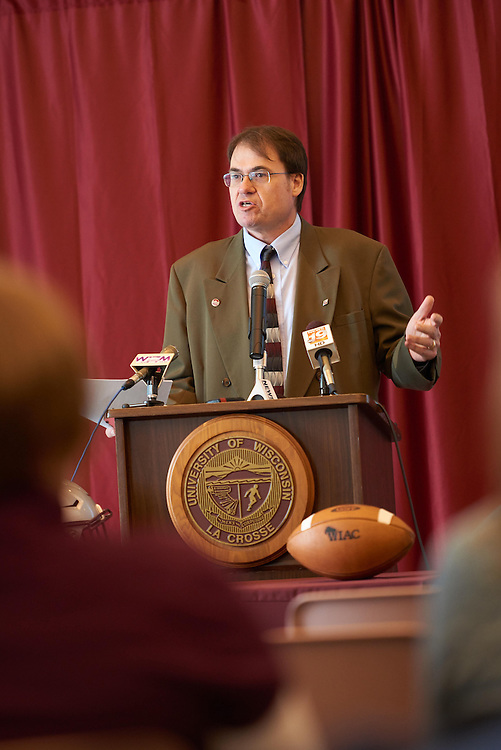 Press Conference; Activity; Speaking; Buildings; Cleary; Location; Inside; Objects; Eagle L; People; Athlete Athletics; Type of Photography; Candid; UWL UW-L UW-La Crosse University of Wisconsin-La Crosse; Winter; February; Mike Schmidt kim blum dave johnson