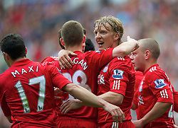 LIVERPOOL, ENGLAND - Saturday, April 23, 2011: Liverpool's Dirk Kuyt celebrates scoring his side's second goal against Birmingham City during the Premiership match at Anfield. (Photo by David Rawcliffe/Propaganda)