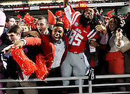 Mississippi wide receiver Ja-Mes Logan (85) celebrates with fans following a win over LSU at Vaught-Hemingway Stadium in Oxford, Miss. on Saturday, October 19, 2013. Mississippi won 27-24. (AP Photo/Oxford Eagle, Bruce Newman)