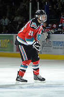 KELOWNA, CANADA, OCTOBER 29: Affiliate player, Austin Glover #26 of the Kelowna Rockets skates on the ice as the Kamloops Blazers visit the Kelowna Rockets  on October 29, 2011 at Prospera Place in Kelowna, British Columbia, Canada (Photo by Marissa Baecker/Shoot the Breeze) *** Local Caption *** Austin Glover;
